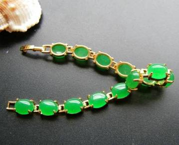 [PT136] Green Emerald Jade Gold Plating Bracelet
