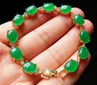 [PT123] Green Emerald Jade Gold Plating Bracelet