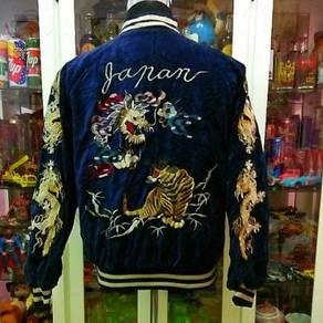 Vtg 80's Sukajan Souvenir Japanese Tiger Velvet