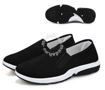 F0269 Black Breathable Slip On Loafers Kasut Shoes