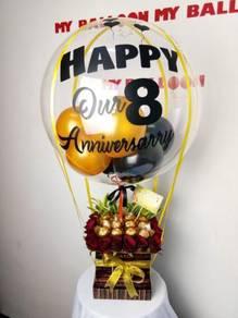 Box Balloon with clear balloon linggi
