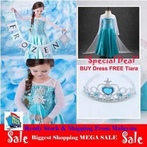 Elsa Frozen Blue Dress Free Tiara