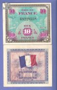 FRANCE Allied Military note 10 FRANC 1944 xf w/h