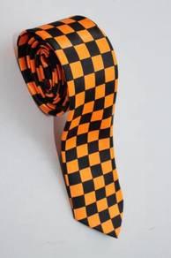 SLIM Orange Black Striped Formal Korean Neck Tie