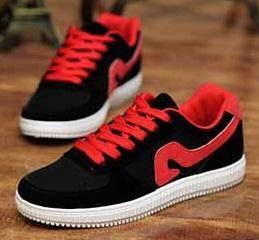 F0244 Black Red Trendy Sneakers Smart Kasut Shoes