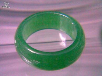 ABRJ-G001 Green Jade Ring - Size 7.75 - 7mm width
