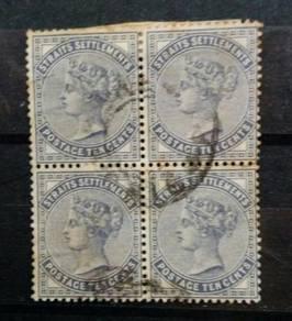 Straits Settlements QV 1882 10c slate b4 used BK18