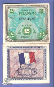 FRANCE Allied Military Currency 2 FRANC 1944 xf