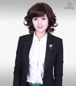 Wig Women Curls Oblique Bangs Hair style -LM406