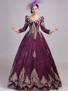 Purple Long Sleeve Gown Wedding RBMWD0331