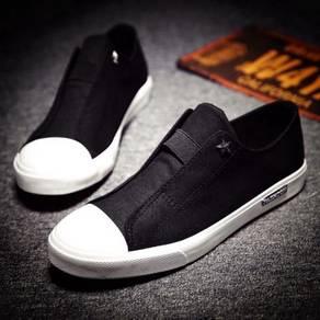 F0230 Sneaker Black Loafer Slip On Men Kasut Shoes