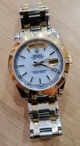 Jam Old school ETA Swiss DD half gold watch