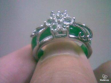 ABRSJ-G003 Flower Crystal Green Jade Silver Ring 8