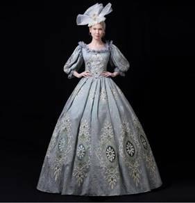 Grey Long Sleeve Victorian Gown Wedding RBMWD0329