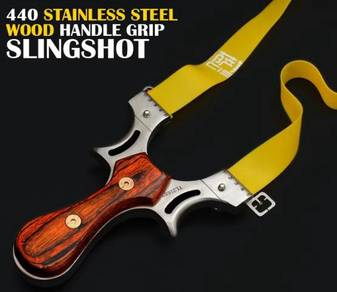 440 Stainless Steel Wood handle Slingshot | Lastik
