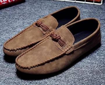 F0233 Elegant Brown Loafers Slip On Kasut Shoes