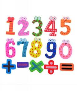 15Pcs Wooden Numeric Fridge Magnets Kids Toy