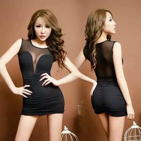 Women's Sexy Black Deep-V Lingerie Sleepwear