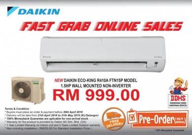 NEW DAIKIN EcoKing R410A 1.5HP Non-inverter Unit