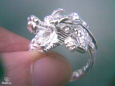 ABRS9-D002 Silver 925 Lively Dragon Ring - Size 8