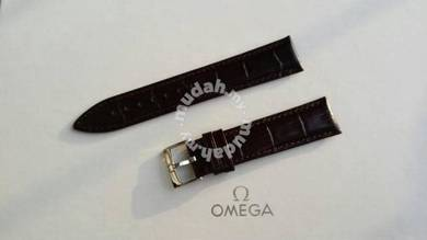 OMEGA 20mm Brown Genuine Leather Watch Strap
