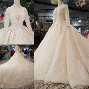 Cream long sleeve wedding bridal dress gown RB1565