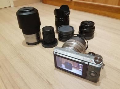 Sony NEX-5T with 5 lenses plus Macro adaptor