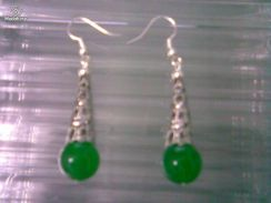 ABESB-T002 Tribe Silver Jade Bead Ear Hook - Green