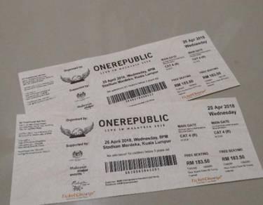 2 Tix  OneRepublic concert in KL