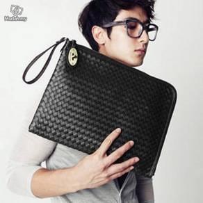 Black Men Dual Use Carry Clutch Sling File Bag