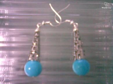 ABESB-T001 Tribe Silver Jade Bead Ear Hook - Blue