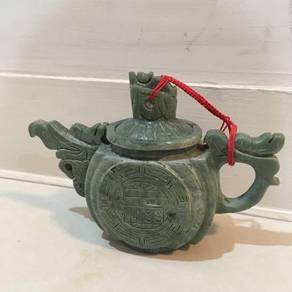 Old Jade Antique Dragon Carving Pot 2x4x6in