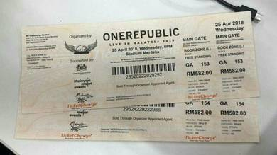 One Republic Ticket Live In KL