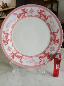 119 Pinggan naga merah dragon round plate