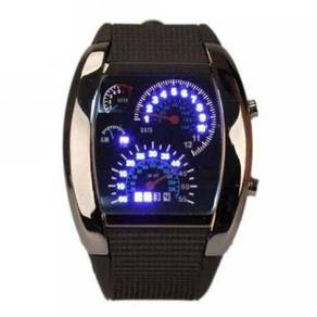 Blue LED Black Case Watch (RPM Speedometer Design)