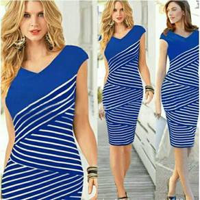 Blue dress size xxl ready stok