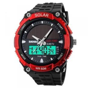 SOLAR POWER Analog & Digital Red Sports Watch