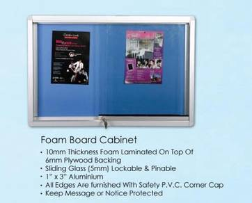 4X4 Sliding Glass Notice Board Cabinet