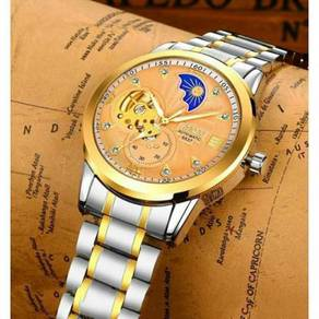 Gold Gold Skeleton Automatic Stainless Steel Watch