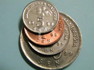Coin Malasia tahun 1999 (1,5,10 & 50 sen)