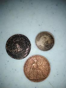 Duit, Syiling, lama, one penny tahun 1945