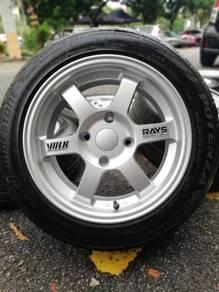 Te37 15 inch sports rim satria neo tyre 70%