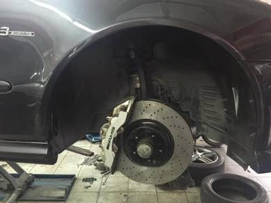 Mercedes install amg brembo 6pot 4pot brake disc