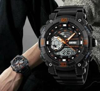 50M WR Analog Digital Black Orange Sports Watch