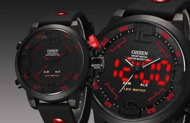 LED Digital & Analog Red Button Silicone Watch