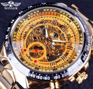 Gold Skeleton Automatic Stainless Steel Watch