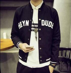 (374) Black Varsity Man Baseball Jacket Sweater