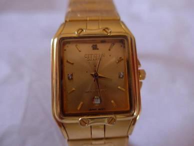 Citizen Gold Rectangular Dial Watch