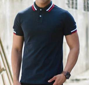 (501) Stylish Blue Slim Polo Short Sleeved T-Shirt
