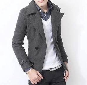 (363) Grey Winter Blazer Suit Man Coat Jacket